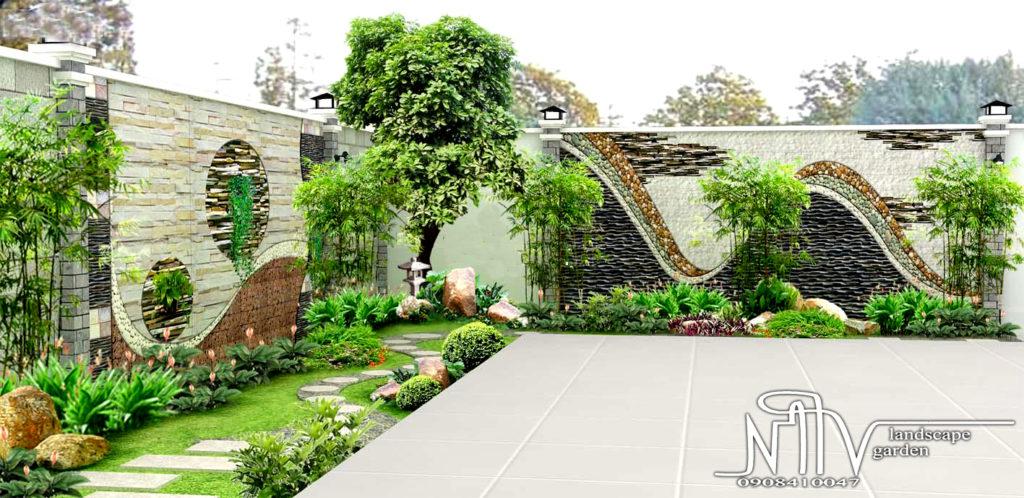 Mẫu thiết kế sân vườn do công ty Hồng Vương thực hiện