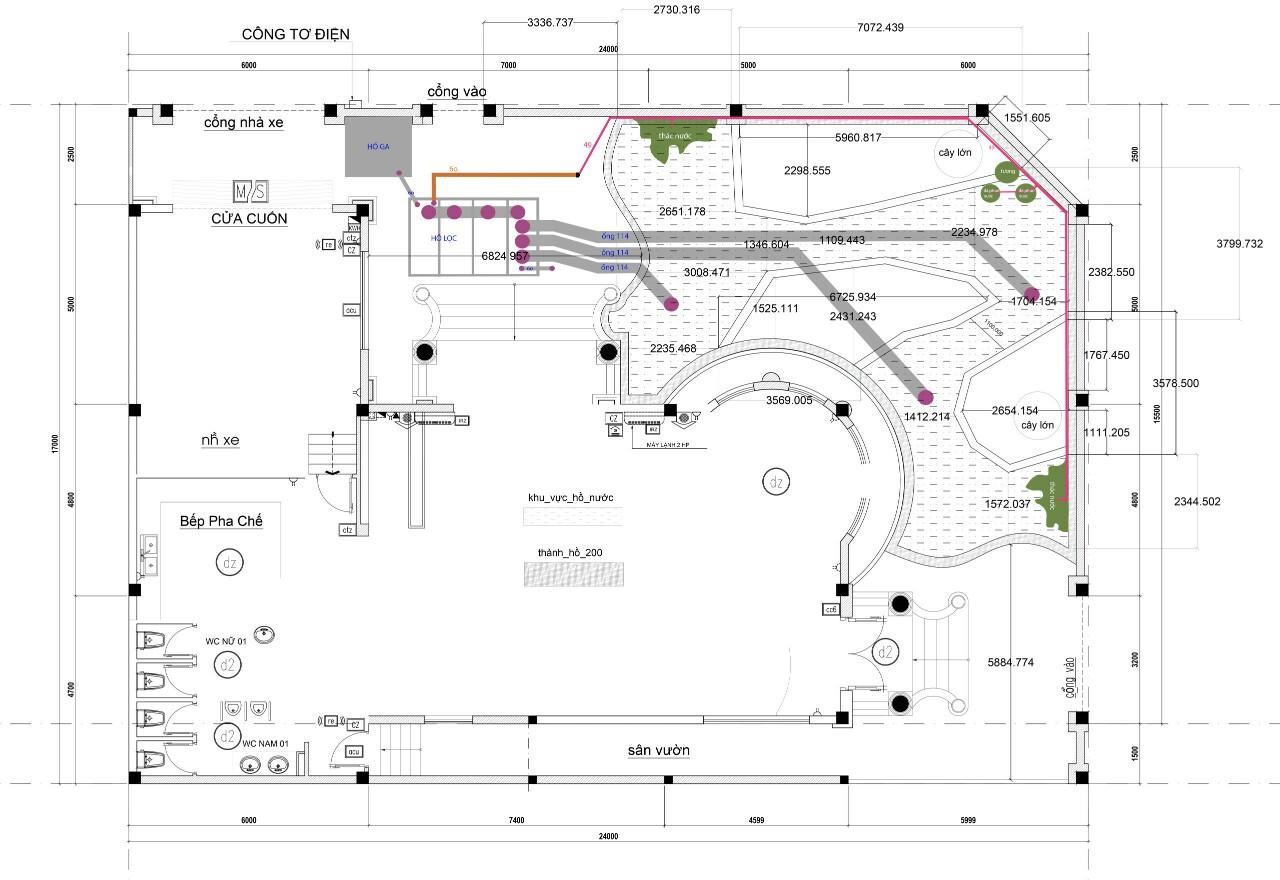 Bản vẽ thiết kế sân vườn kết hợp hồ cá Koi